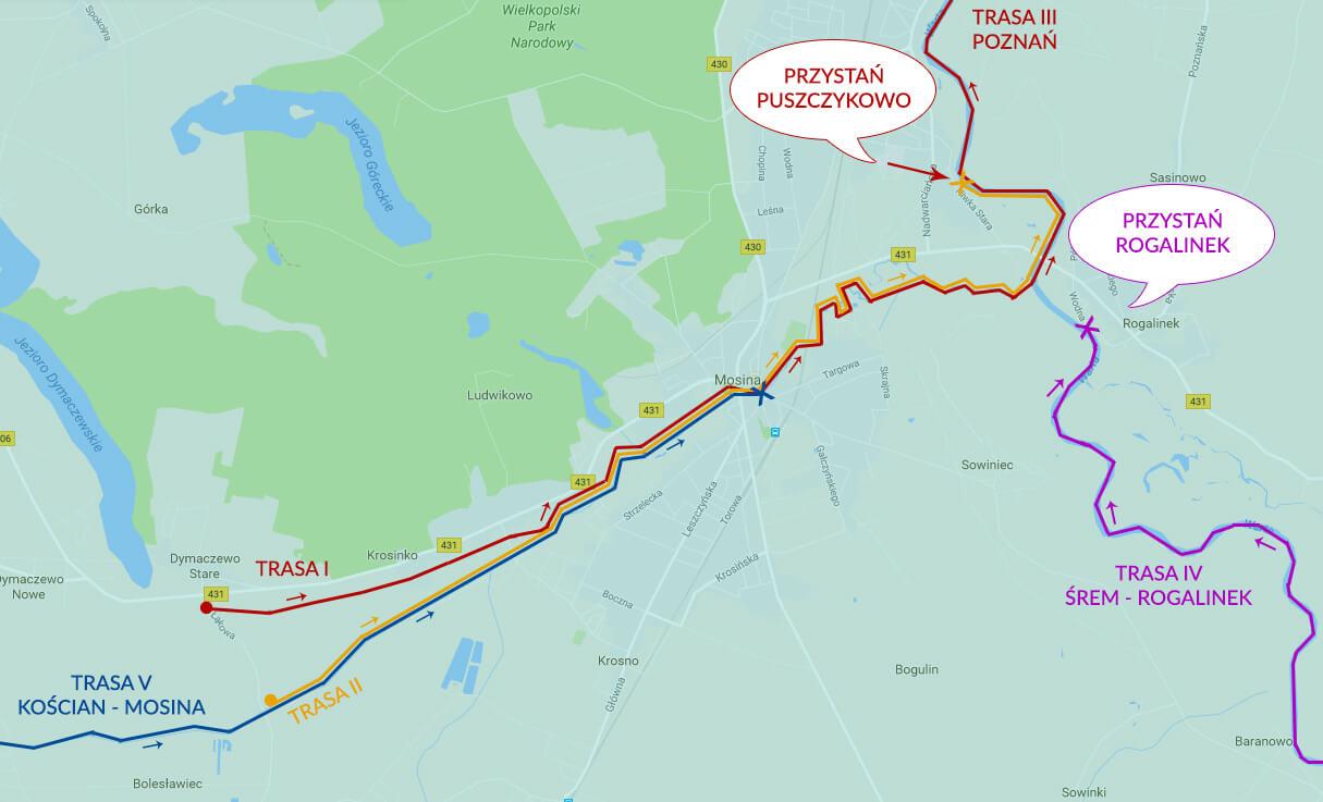 Trasa spływów: Warta, Kanał Mosiński, Samica Stęszewska